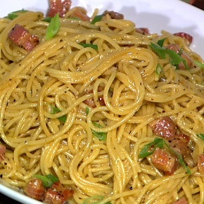 Get a taste of Italy with Mario's Spaghetti alla Carbonara.