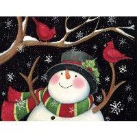 Snowman With Cardinals