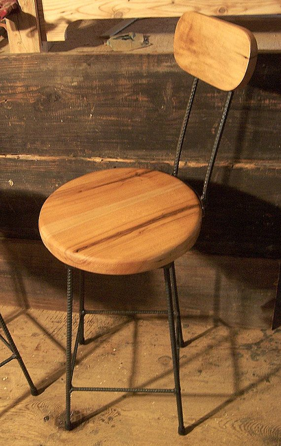 Reclaimed Maple Swivel Bar Stools With Rebar By
