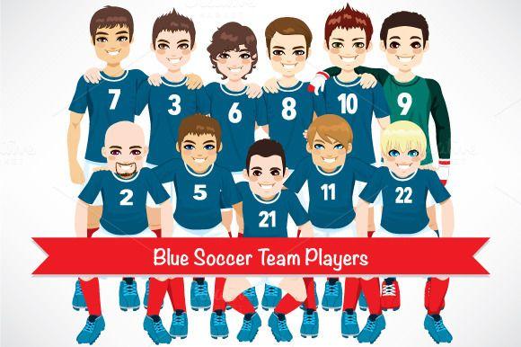 Blue Soccer Team Players by Kakigori Studio on Creative Market