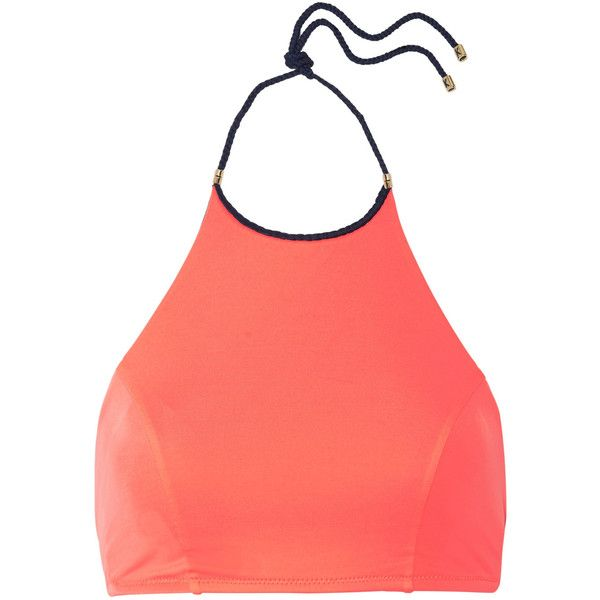 Heidi Klum Swim Braided halterneck bikini top ($38) ❤ liked on Polyvore featuring swimwear, bikinis, bikini tops, coral, embellished bikini, neck ties, swim wear, swim bikini and halter tops