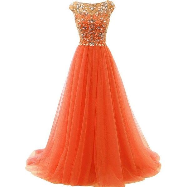 JAEDEN Crystal Evening Prom Dresses Long Quinceanera Dress Wedding... ($147) ❤ liked on Polyvore featuring dresses, gowns, cocktail prom dress, orange evening gown, prom ball gowns, evening cocktail dresses and long prom gowns
