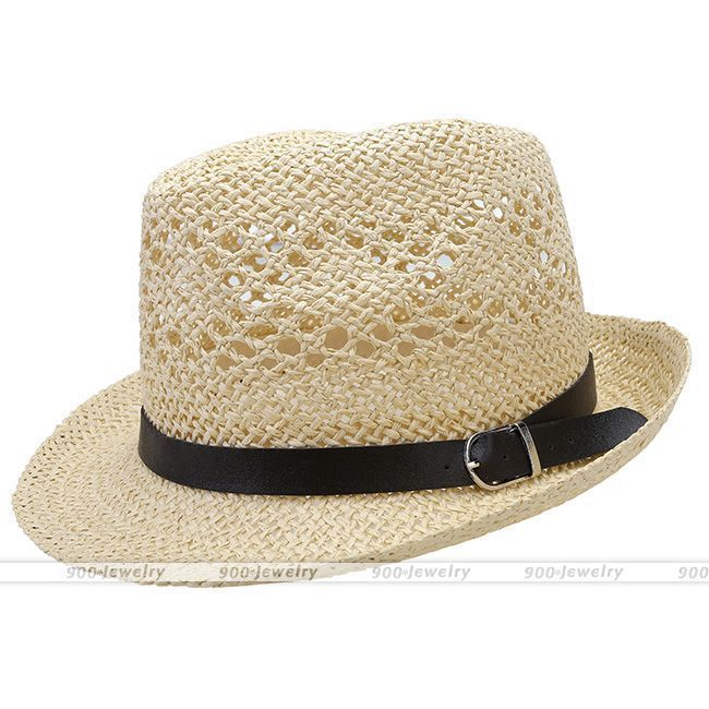 Summer Beach Hats Trilby Floppy Fedora Straw Wide Brim Sun Hat For Men Women #02