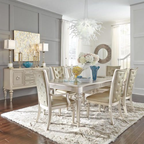 The Dynasty Dining Collection Brings Glamour Back To Room From Mirrored Insets In Table Crystal Buttons On Tufted Chairs