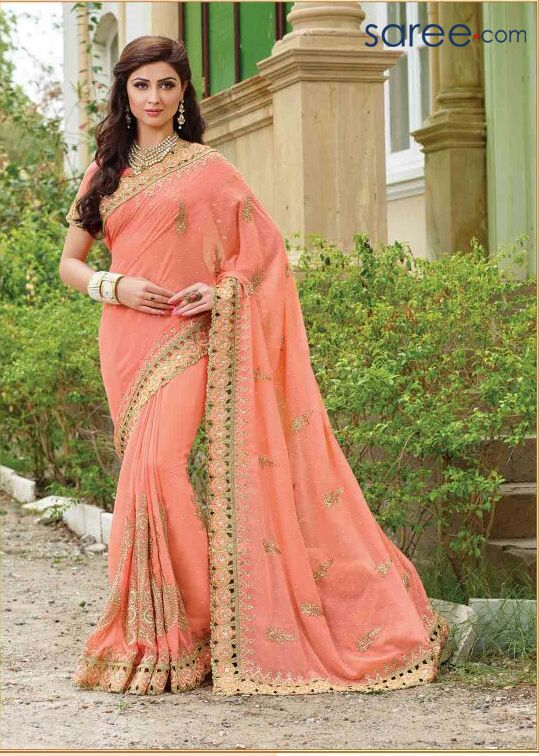 PEACH GEORGETTE SAREE WITH EMBROIDERY WORK