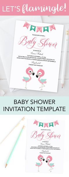Flamingo baby shower ideas by LittleSizzle. Are you planning a Flamingo themed baby girl shower? Make the perfect announcement with this sweet pink flamingo invitation template. It is perfect for a hawaii themed party or tropical baby shower. Personalize