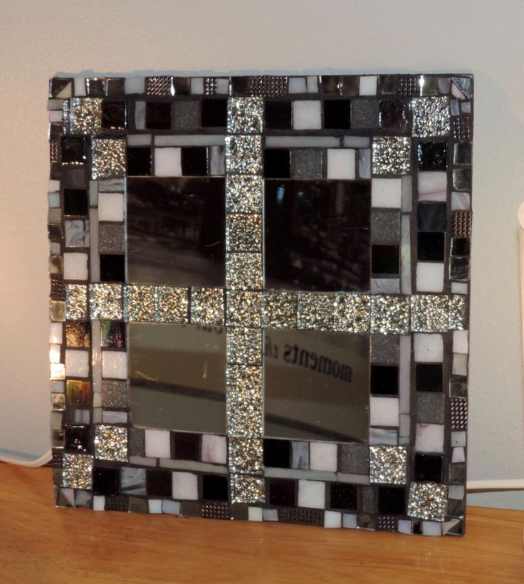 Mosaic Mirror: black & white stained glass,  mirror tiles, contemporary mirror, masculine mirror design,  modern wall mirror by MosaicsofGlass on Etsy https://www.etsy.com/listing/264751435/mosaic-mirror-black-white-stained-glass
