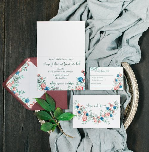 Meadow invitation suite in red and blue by Lilly Cinnamon Wedding Stationery