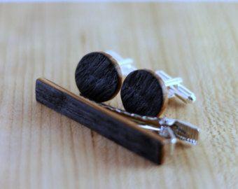 Kentucky Bourbon Whiskey Barrel Wood Cuff links and Wood Tie Clip set - Groomsmen gift - 5th Wedding Anniversary Present