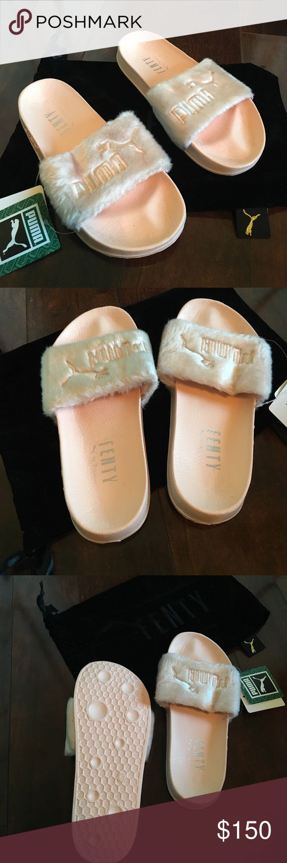 Fenty Puma slides Authentic Rhianna Puma Fenty slides. Got black and pink ones and I like the black ones better so selling these. Only shipping the pair of slides and dust bag. NOT box. They're described size 8.5 but they fit me perfectly and I'm on the 7.5/8 size Puma Shoes Slippers