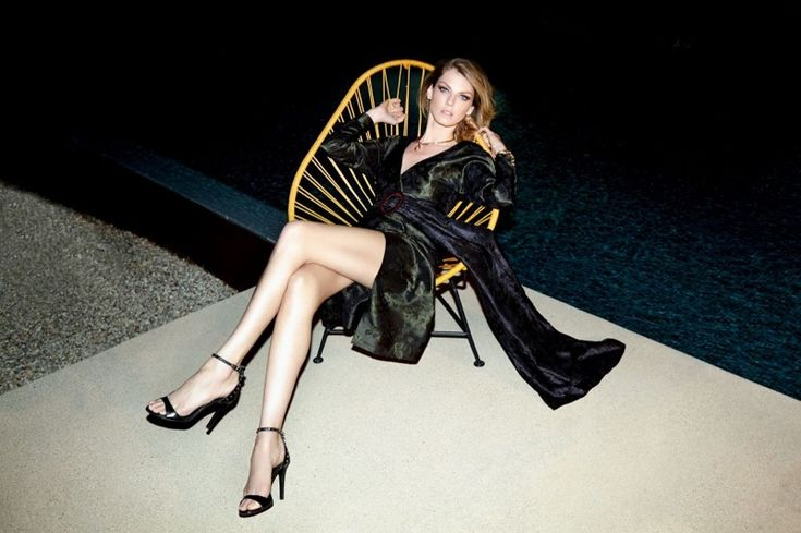 Model Angela Lindvall wears brocade dress for Evening Standard Magazine November 2016 issue
