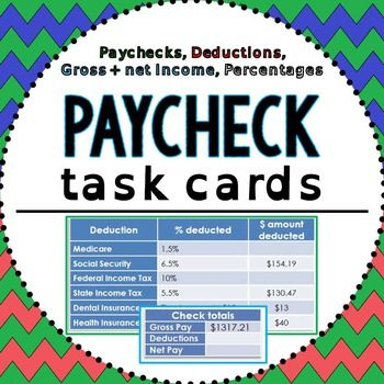 Paychecks. In this task cards activity, students practice finding percentages of gross weekly, biweekly, semimonthly and monthly incomes to find total deduction amounts and net incomes. Some questions ask students to find annual income based on the gross and net amounts shown in a paycheck.