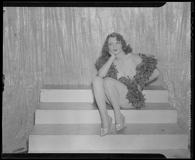 Ann Corio ready to go on at the Old Howard by Boston Public Library, via Flickr