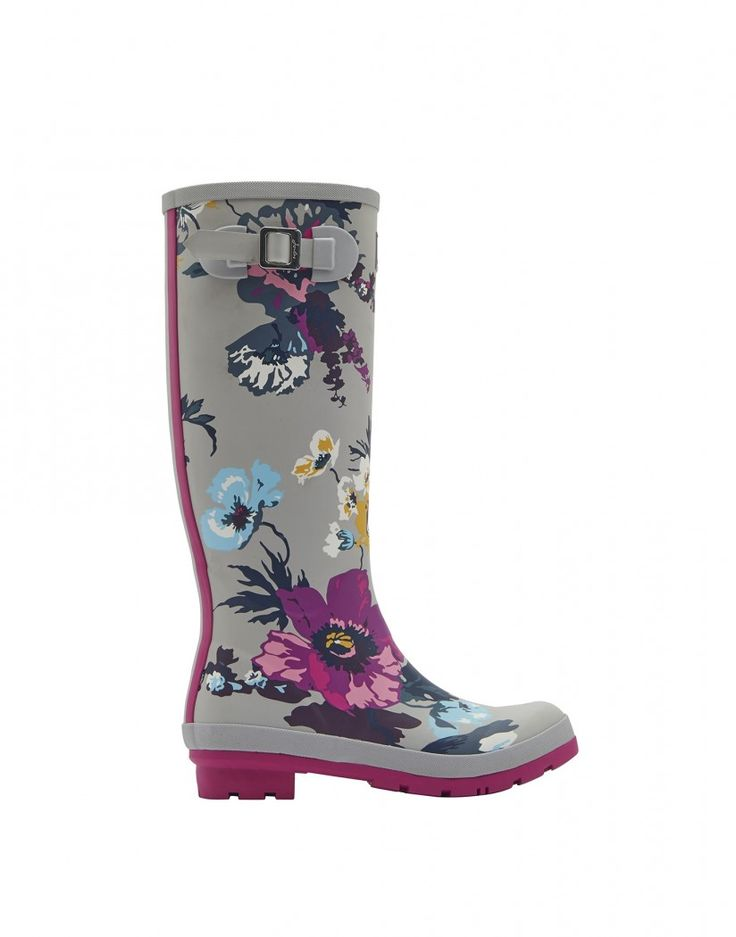 Joules Women's Wellyprint Printed Wellington Boots - Silver Posy Print X_WELLYPRINT - Joules Women's - Joules - Our Brands | Country Attire