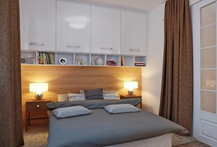 kleine-schlafzimmer-modern-weisse-oberschranke-holz-wandpaneele