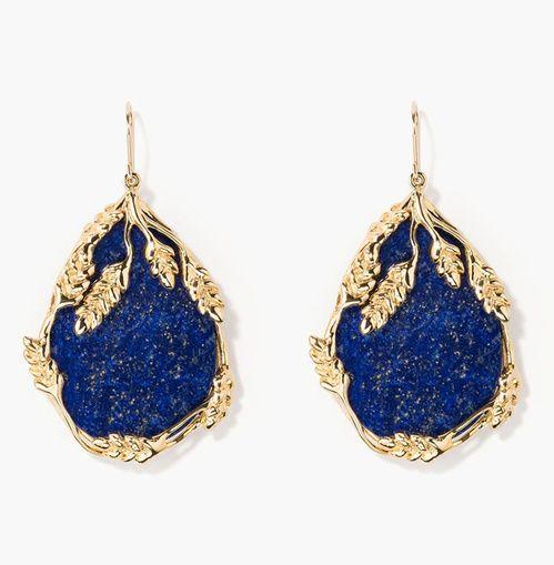Boucles d'oreilles Françoise d'Aurélie Bidermann en or et lapis-lazuli