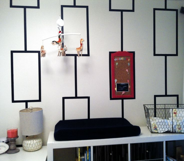 DIY black and white stenciled wall - #nursery #DIY: Wall Colors, Wall Art, Modern Art, Pattern, Diy Stencilled, Stenciled Wall, Navy Nursery, Stencilled Wall Ding, Diy Projects