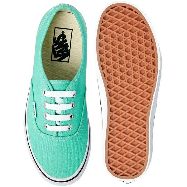 Vans Authentic Mint Trainers ($44) ❤ liked on Polyvore featuring shoes, sneakers, vans, zapatos, sapatos, laced shoes, lace up sneakers, mint shoes, grip trainer and vans trainers