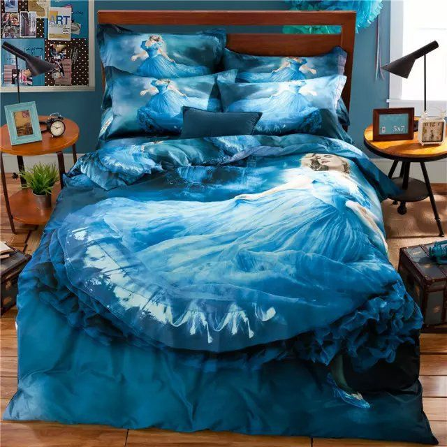 3d Fairy Princess Blue Bedding Set For Teens Girls