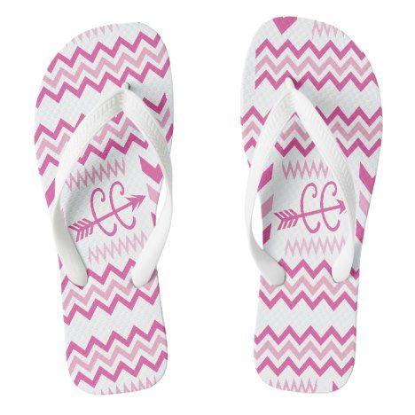 Pink Chevron Cross Country Running XC Flip Flops #chevron #patterned #footwear #fashion