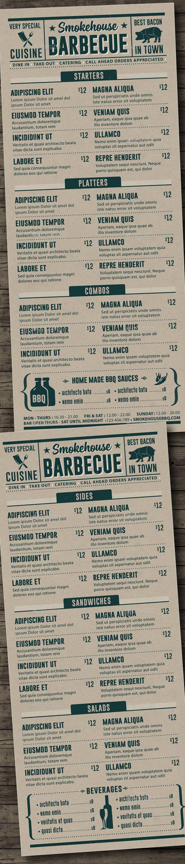 BBQ Menu Template #design Download: http://graphicriver.net/item/bbq-menu-template/12321602?ref=ksioks