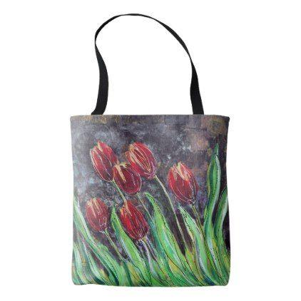 #Red Tulips Original Art Flower Tote Bag - #flower gifts floral flowers diy
