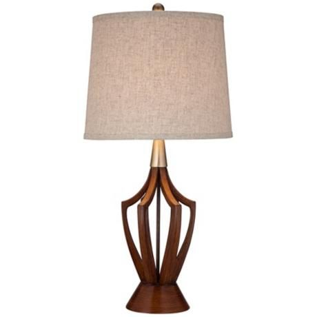 St. Claire Wood Finish Mid-Century Modern Table Lamp -