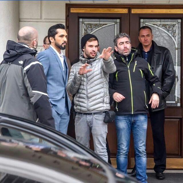 Fahad Al Kubaisi with Director Said El Marouk at Film location of his the new video clip in Kiev in Ukraine.  April 7th 2017