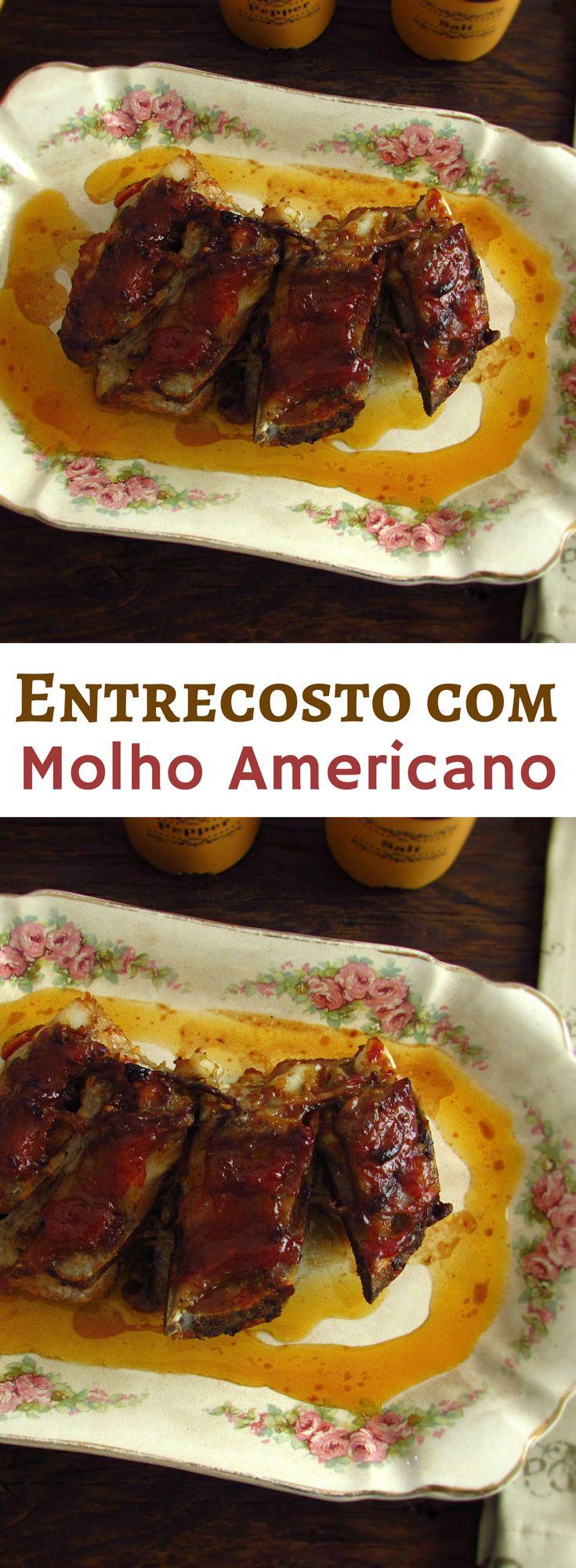 Entrecosto com molho Americano | Food From Portugal. Quer preparar um receita especial e bastante saborosa de carne? Temos a solução perfeita para si! Este entrecosto no forno regado com um molho delicioso vai surpreender as suas visitas… #receita #entrecosto #molho