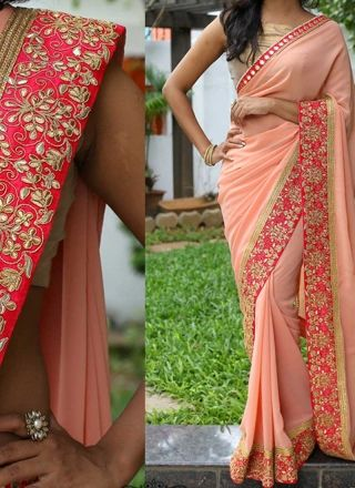 Peach Embroidery Work Designer Georgette Party Wear Fancy Sarees http://www.angelnx.com/Sarees/Designer-Sarees
