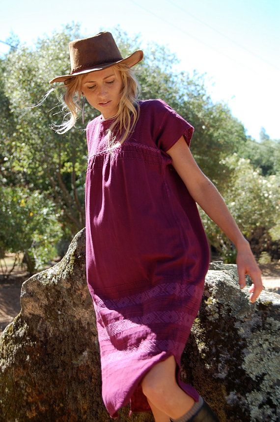 Ethnic Boho Dress Vintage Plum Ethnic Guatemalan by enidandedgar, $48.00