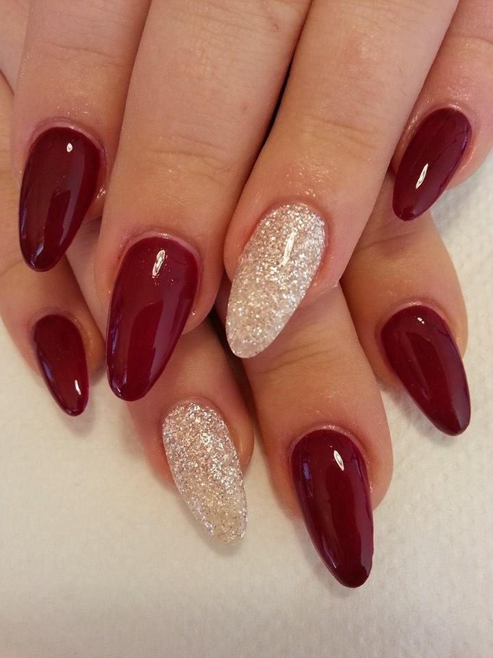 Burgundy nails with white glitter. This is something I am definitely going to try out.