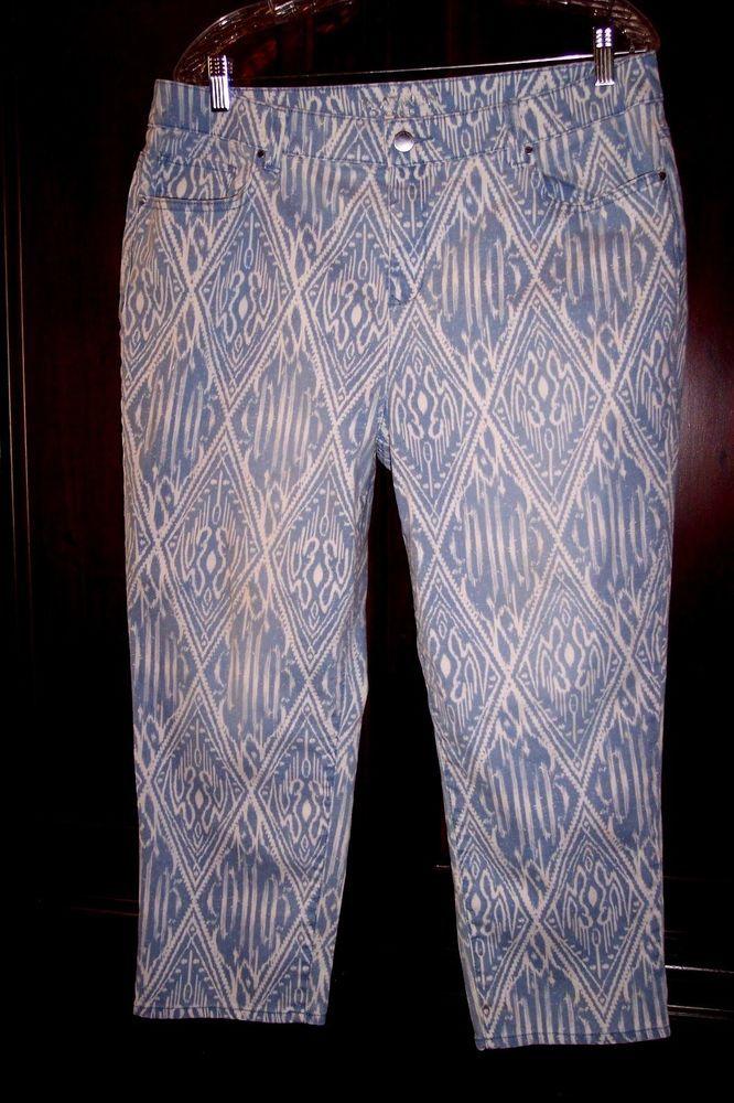 Chico's Jeans 2 Platinum Crop Blue Boho Aztec Stretch Denim Women's Pants 34X23 #Chicos #stretchdenimBootCutCapriCropped