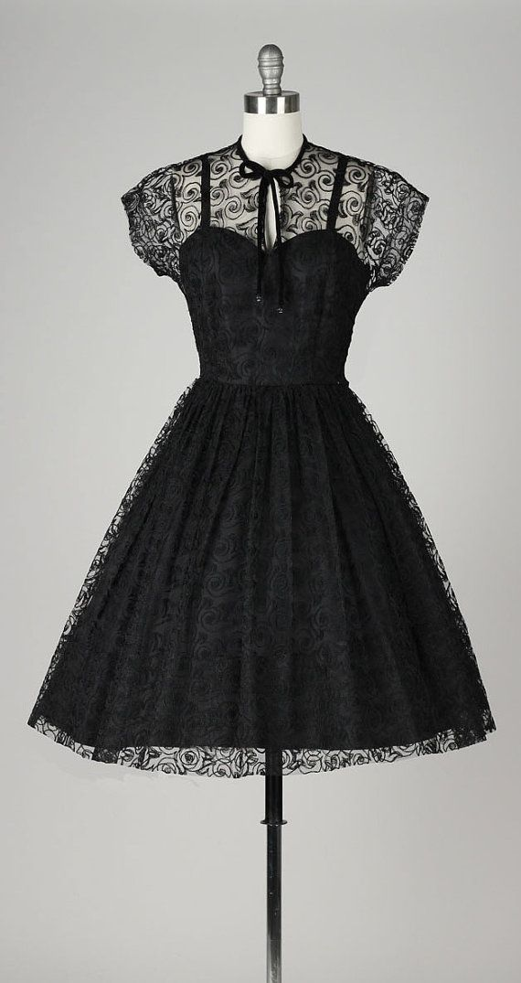 vintage 1950s black swirl lace dress