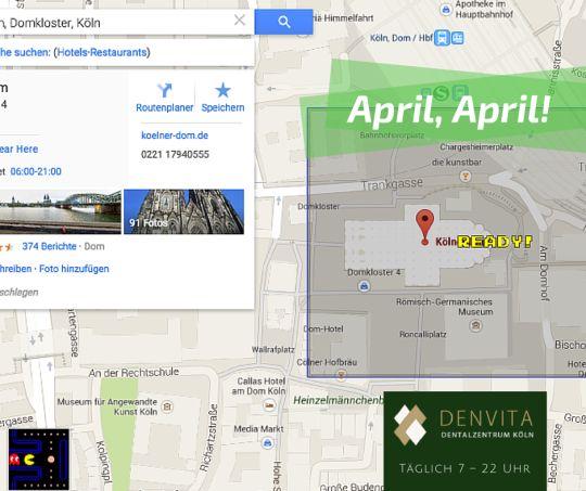 Der #Aprilscherz des Jahres 2015 kommt von #Google Maps. Dort kann man das Areal rund um den Kölner Dom als Pacman-Parcours bespielen! Herrlich ;-)  DENVITA Zahnärzte & Notdienst in Köln