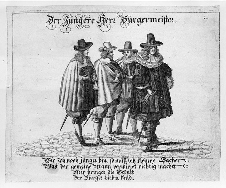 """Bildtryck. """"Der jungere Herr Burgermeister"""". Fyra yngre män i moderiktiga kläder, 1600-tal. Högre ståndsdräkt. Nordiska Museet."""