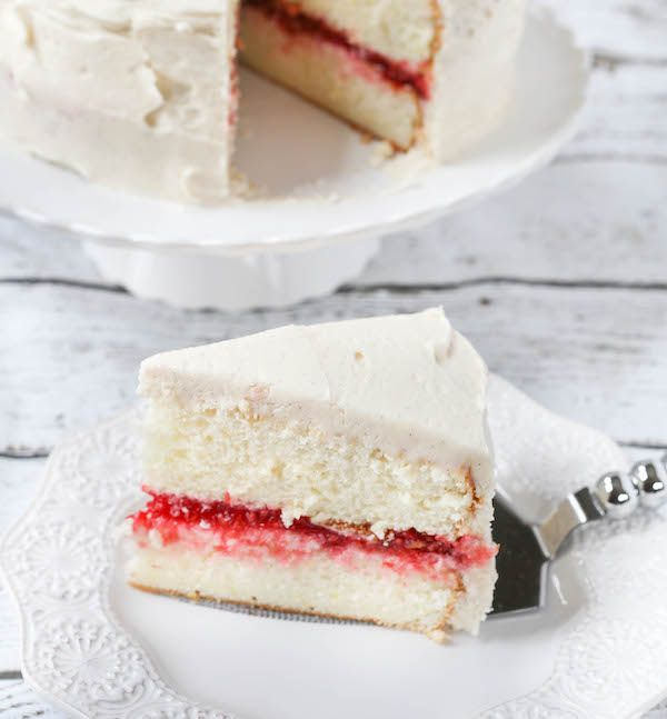 Lemon Layer Cake with Raspberry Filling and Vanilla Buttercream