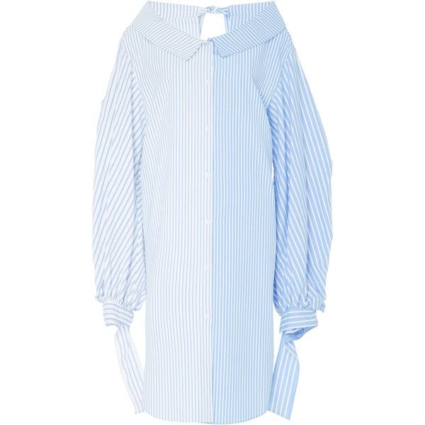 Echtego Stefano Stripe Shirt Dress (1,350 SAR) ❤ liked on Polyvore featuring dresses, blue, blue striped dress, long shirt dress, stripe dress, blue dresses and shirt dress