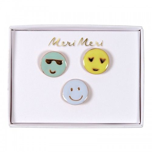Emoji Enamel Pins - Emojis Gifts - Meri Meri Party Supplies Uk - The Original Party Bag Company