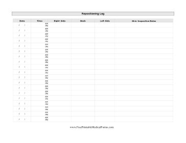 Repositioning Log Printable Medical Form, free to download