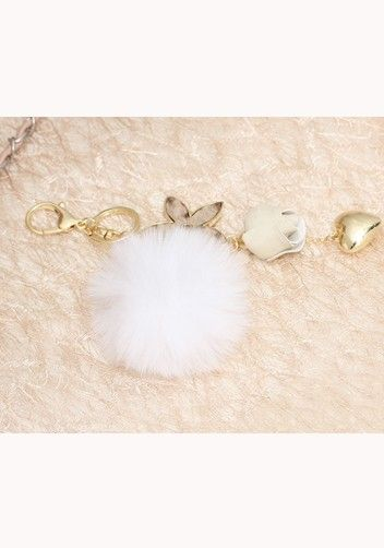 Plush Ball Rose Heart Bag Charm Key Ring White