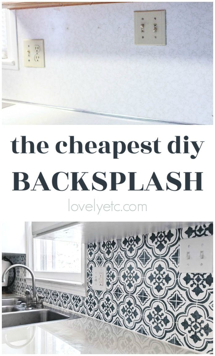 The Cheapest Diy Backsplash Ever Lovely Etc In 2020 Diy Backsplash Diy Kitchen Backsplash Inexpensive Backsplash Ideas