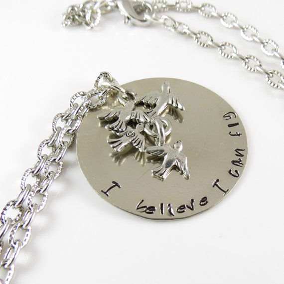 I Believe I can Fly Necklace with Hand Stamped by ChaoticBliss