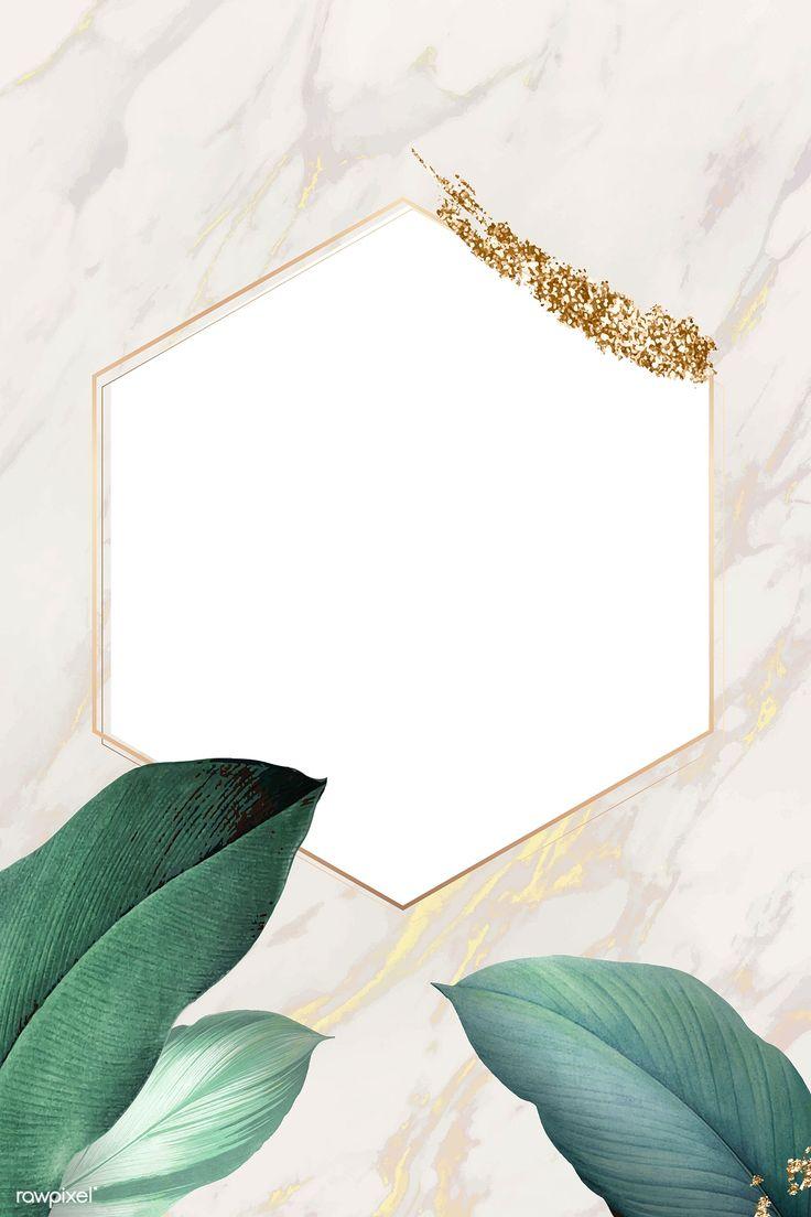 Download premium illustration of Hexagon foliage frame on white marble