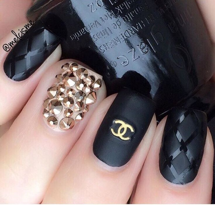 Chanel Matte black with Gold nails