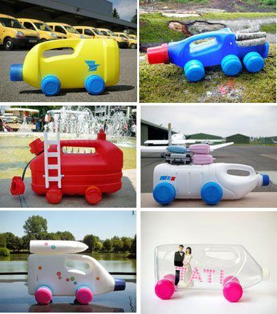 autos de botellas de plástico