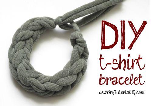 Jersey Knit T-Shirt Bracelet Tutorial {Video}