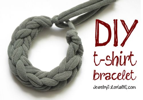 how to make jersey knit finger woven bracelets from old t-shirts! {video tutorial}  #jewelrymaking #diy