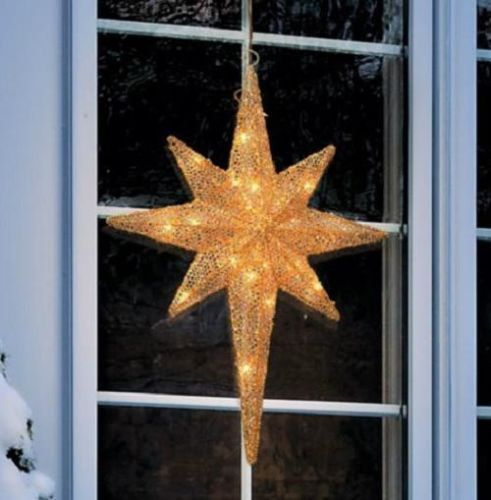 lighted gold christmas star outdoor yard art holiday