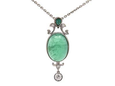 PENDANT/CHAIN, 18K white gold, cabochon-cut emeralds and diamonds.